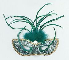 VERDE Masquerade Tall PIUMA Occhi Maschera adulto FANCY DRESS NEW p1627