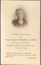 FAIRE PART DECES SEPULCHRE DE CONDE 1941