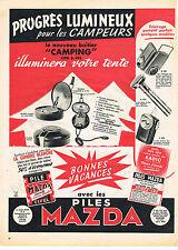 PUBLICITE ADVERTISING  1957   MAZDA  CIPEL  piles pour les campeurs
