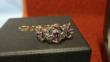 Clogau Silver &Rose Gold Ruthenium Plated & Amethyst Origin Ring Size P RRP £129