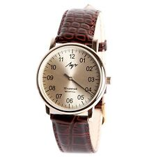 One Hand Luch Mechanical Wristwatch Men's leather Vintage Silver 337477761 RUS