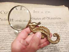 Vintage Antique Style Brass Seahorse Magnifying Glass Desk Hand Lens
