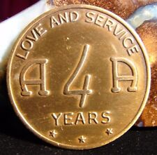 Alcoholics Anonymous 4 Year AA Medallion Token Chip Coin Recovery Sober Sobriety