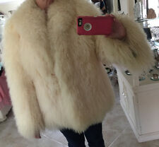 Vintage Winter White Long Curly Tibetan Mongolian Lamb Fur M/L