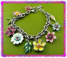 BRIGHTON POP GARDEN Colorful Flower Silver Charms BRACELET NWTag & Tin or Pouch