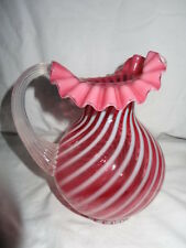 Art Glass Stamped Fenton Cranberry Swirl Pitcher 8 inches Ruffled Top