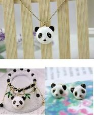 NEW Betsey Johnson Fashioni long panda head necklace bracelet earrings suit