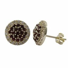Gold Plated Sterling Silver Garnet White CZ Round Womens Stud Earrings