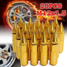 20Pcs Aluminum M12X1.5 Wheels Rims Lug Nuts Spiked 60mm Extended Tuner Gold