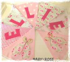 Baby Girl Personalised Name BUNTING VIntage DESIGNER Fabric Florals Pink Green