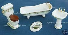 Miniature Dollhouse 4 Piece Porcelain Bath Set 1:12 Scale New