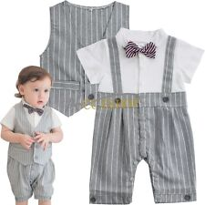 Newborn Baby Boy Gentleman Romper Formal Vest Suit Wedding Tuxedo Outfit Clothes