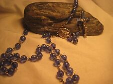 VINTAGE BLUE CRYSTAL BEADED ROSARY, WITH SILVER CRUCIFIX