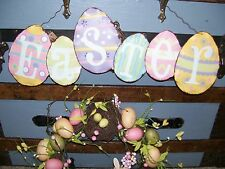 "NWT 20"" Painted Metal Decorated EASTER EGGS Spring Tin Sign Wall Decoration"