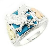 Mens Black Hills Gold Sterling Silver Eagle Ring w Turquoise Size 12 - In Stock