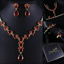 Schmuck-Set Collier+Ohrstecker+Armband+Ring *Tulpe*, Gelbgold pl., inkl. Etui
