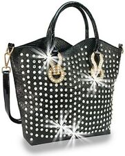 Rhinestone Accented Unique Snake Embossed Fashion Tote Black