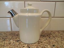 """Vintage Hall Teapot with Silver Spout Off White 5-1/4"""" USA Restaurant China Ware"""