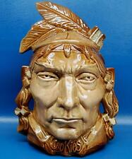 VINTAGE 1950s McCOY NATIVE AMERICAN INDIAN HEAD COOKIE JAR - PONTIAC ADVERTISING
