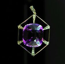 Antique Russian Amethyst and Diamond Gold Art Deco Pendant, St. Petersburg, circ