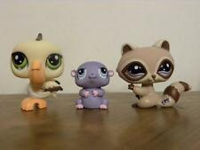 Littlest Pet Shop LPS #1348 Raccoon #1349 Hamster and #1350 Pelican