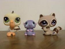 Littlest Pet Shop LPS #1348 Raccoon #1349 Hamster and #1350 Pelican
