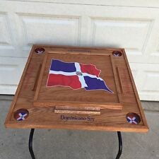 Dominican Republic Domino Table With the Flag Dark Walnut