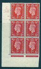 1937 1D Scarlet colori scuri C38 18 DOT PERF 5 (E / I) Blocco 6 Unmounted MINT / MNH