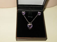 genuine ART JEWELLERY set of  sterling silver with genuine Amethyst