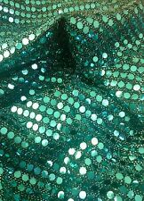 "Sequined Shiny Glitzy Dance Mesh Net Fabric Material Textile 58"" width Blue"