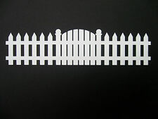 "Long Fence and Gate  Border White  10"" long Cardstock die cut scrapbooking"