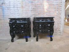 2 x Rococo Bedside tables .... nightstands .......  BLACK Gothic style