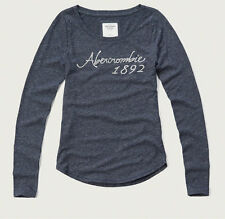 NWT Abercrombie & Fitch Women Long Sleeve Logo Graphic T Shirt Top M Navy Blue