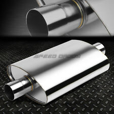 "FULL POLISHED STAINLESS STEEL HIGH-FLOW PERFORMANCE MUFFLER 2.5""CENTER IN/OUTLET"
