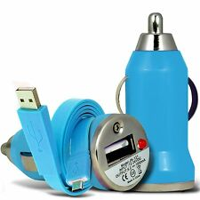 Blue Single Port USB Car Charger & Flat Data Cable For Alcatel Flash Plus