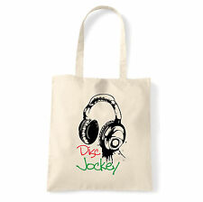 Art T-shirt, Borsa shoulder Disc Jockey Cuffie, Natural, Shopper, Mare