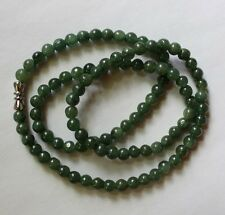 "100% Natural Untreated Grade  A  Oily Green JADE Bead Necklace 20"" #N048 ""油青玉"""