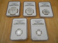 2013 SET OF 5 SILVER ANNIVERSAY MAPLE LEAF NGC PF69 REVERSE PROOF