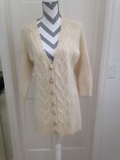 Juicy Couture Cream Cable Sweater Cardigan 3/4 Slv S Wool/cashmere Gold Button