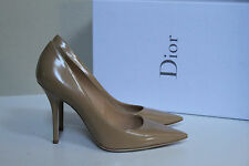 New Christian Dior Cherie Beige Leather Pointed Toe Classic Pump Shoes 8 / 38