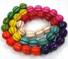 """9mm Multi Colorful Turquoise Fluted Melon Beads  15.5"""""""