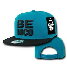 Teal & Black Mexican Mexico BE LOCO Crazy Embroided Flat Snapback Snap Hat Cap