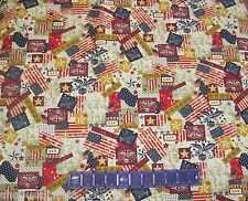 USA FLAGS PATRIOTS COLLAGE on Made In USA 100% COTTON FABRIC Priced By The Yard
