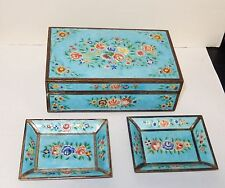 RARE OLD CHINESE ROSES REPOUSSE CLOISONNE ENAMEL HUMIDOR BOX AND TRAYS SET