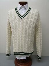 Polo by Ralph Lauren Hand Knit Cotton Cream Cable Knit V-Neck Tennis Sweater M