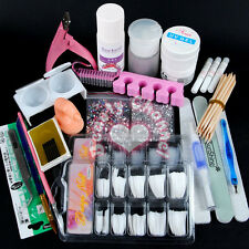 Acrylic Powder Glitter Nail Art Liquid Glue File Brush Tool Tips UV Gel Kit Set
