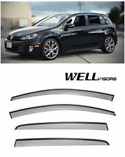 WellVisors Side Window Visors Black Trim For 10-14 VW Golf & GTi MK6 4Dr Hatch