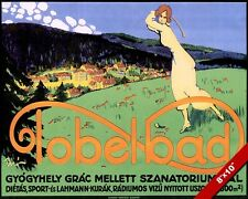 VINTAGE TOBELBAD AUSTRIA GOLF COURSE TRAVEL AD POSTER ART REAL CANVAS PRINT