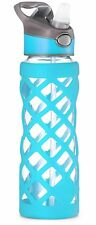 Swig Savvy 25oz Borosilicate Glass Water Bottle with Silicone Sleeve Blue