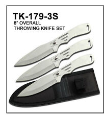 """3PC 8""""Tactical Silver Throwing Knife Set w/ Sheath Case"""